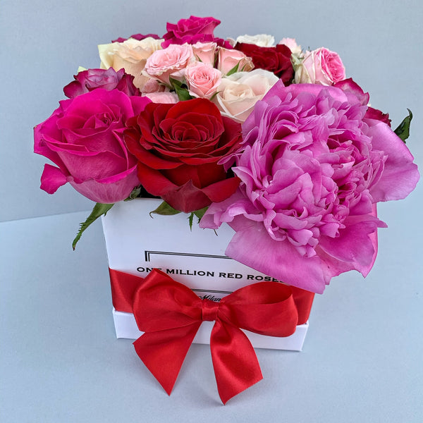 Classic Collection - Cube - Rose Mix Rosa e Peonia - Scatola Bianca