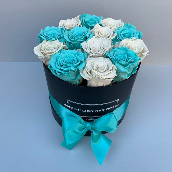 Mille Rose - Senza Tempo - Small Box - Rose Tiffany e Bianche - Scatola Nera