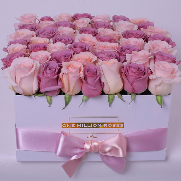 Classic Collection - Square Box - Rose Rosa e Lilla - Scatola Bianca