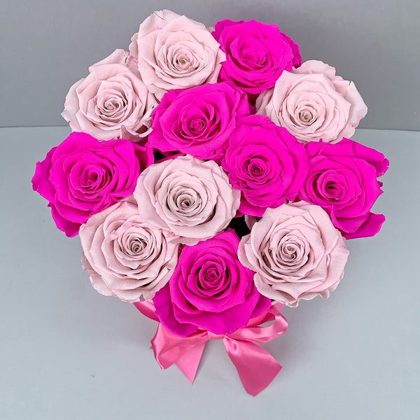 Mille Rose - Senza Tempo - Small Box - Rose Fucsia e Rosa - Scatola Rosa