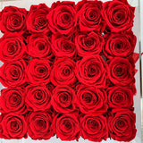 Senza Tempo  - Square Box Cristallo - Rose Rosse