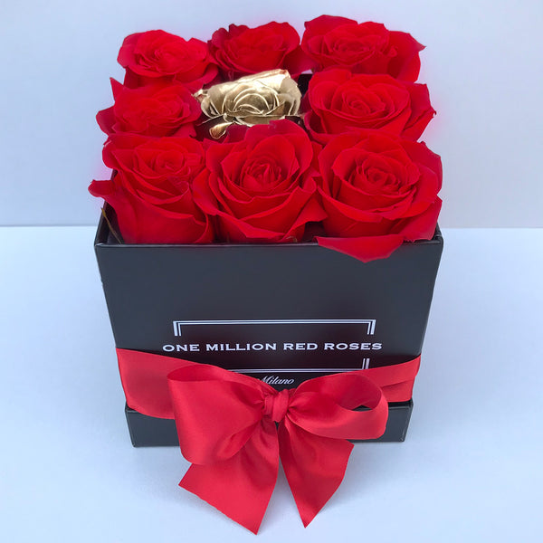 Luxury Collection- Cube - Rose Rosse Oro - Scatola Nera