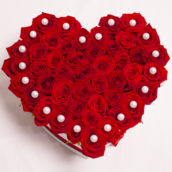 Love Collection - Rose Rosse con Perle - Scatola Bianca
