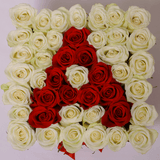 Classic Collection - Square Box - Rose Bianche e Rosse - Scatola Bianca