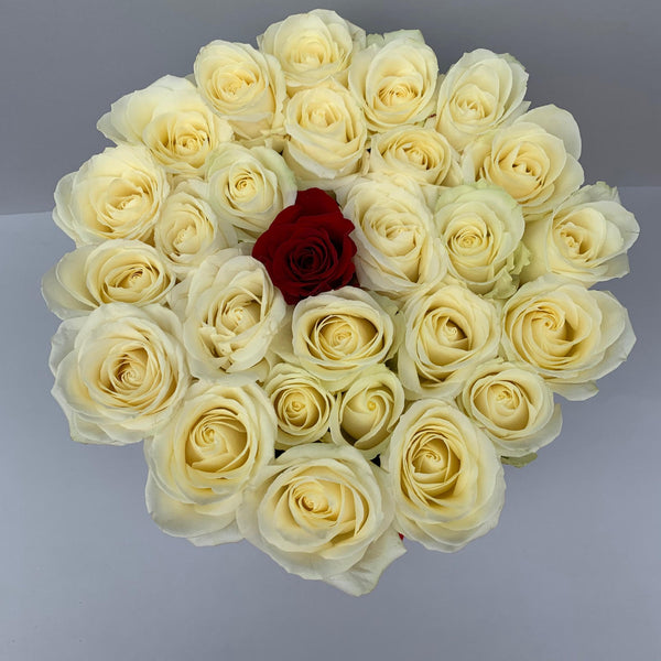 Classic Collection - Medium Box - Rose Bianche e Rossa - Scatola Bianca