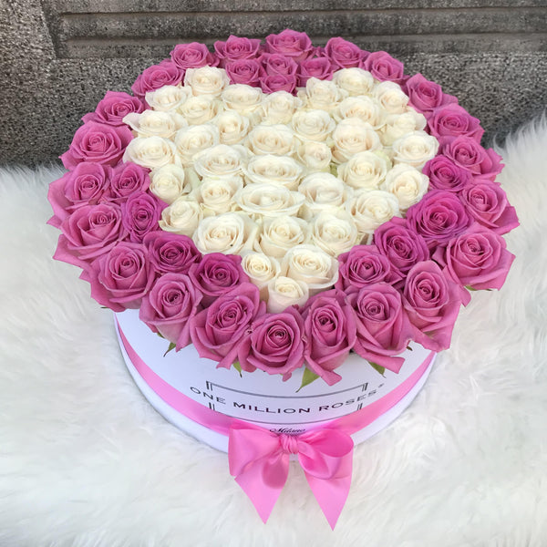 Classic Collection - One Million Box - Rose Bianche e Rosa - Scatola Bianca