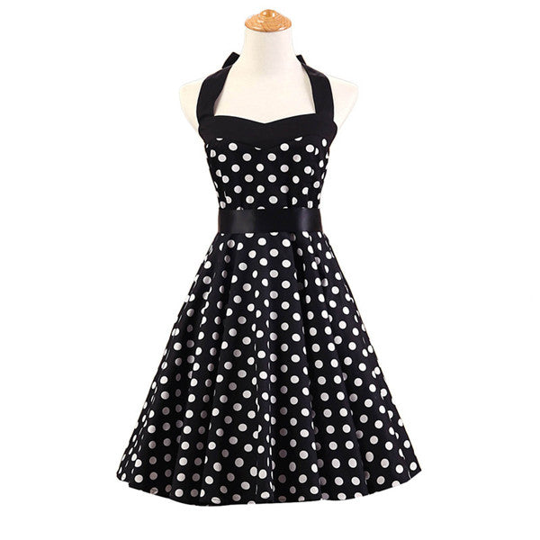 2f6be29b7b76 Classic Dame 50 s Vintage Reproduction Red   White Polka Dot Halter Swing  Dress …