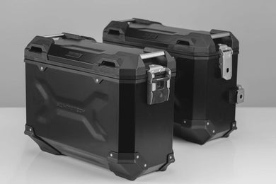 SW Motech TRAX ADV aluminium case system 37L left and 37L Right Black