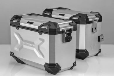 SW Motech TRAX ADV aluminium case system 37L left and 37L Right Silver