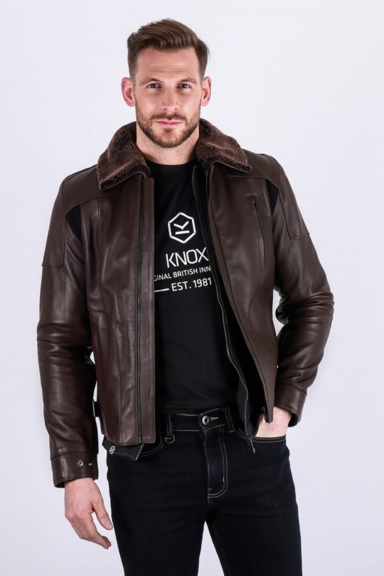 Knox Ford Leather Jacket Brown