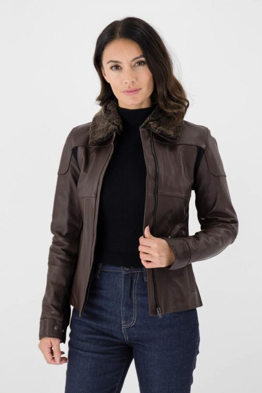 Knox Phelix Women's Leather Jacket Brown
