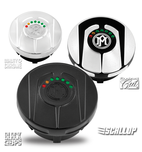 Performance Machine Scallop Fuel Caps with LED Gauge