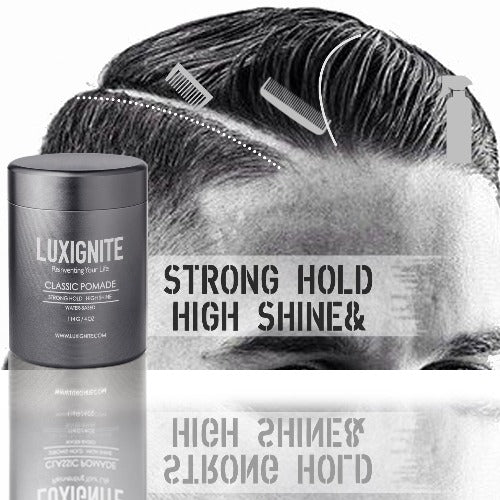 High Hold & Shine Gel Type Easy wash Classic Waterbased  Pomade + SOLID COLOGNE Luxignite