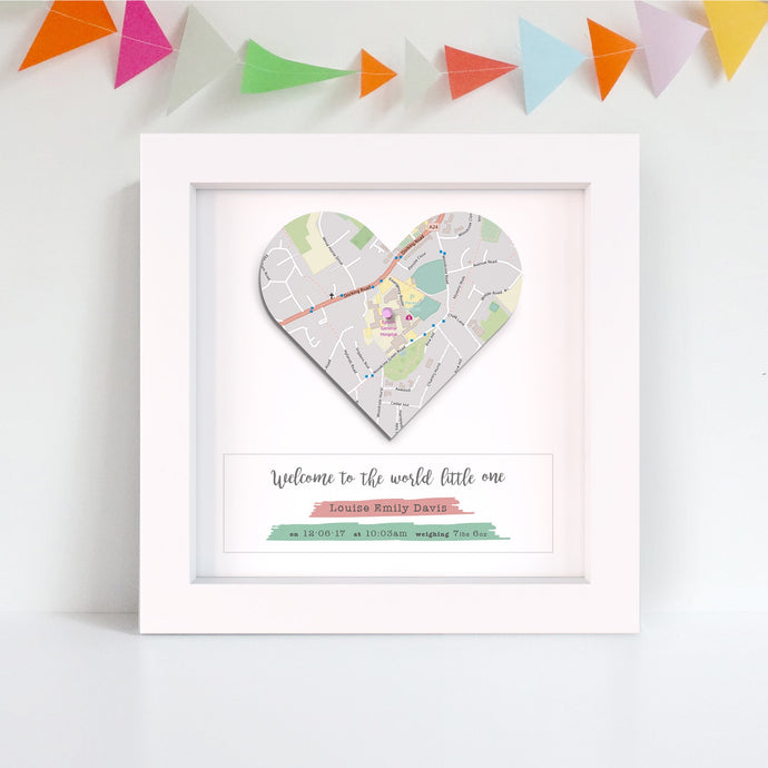 Baby Gift -  Heart Map Print
