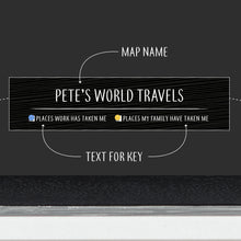 Personalised Black Pinboard World Map