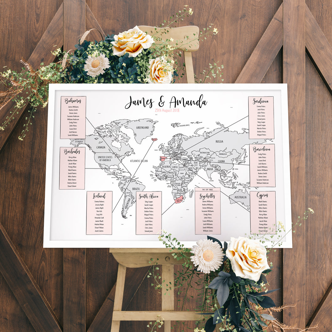 travel themed wedding table plan