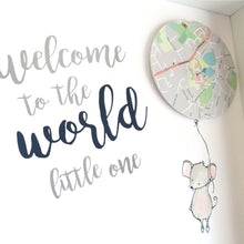 Baby Gift - Mouse Balloon Map Print