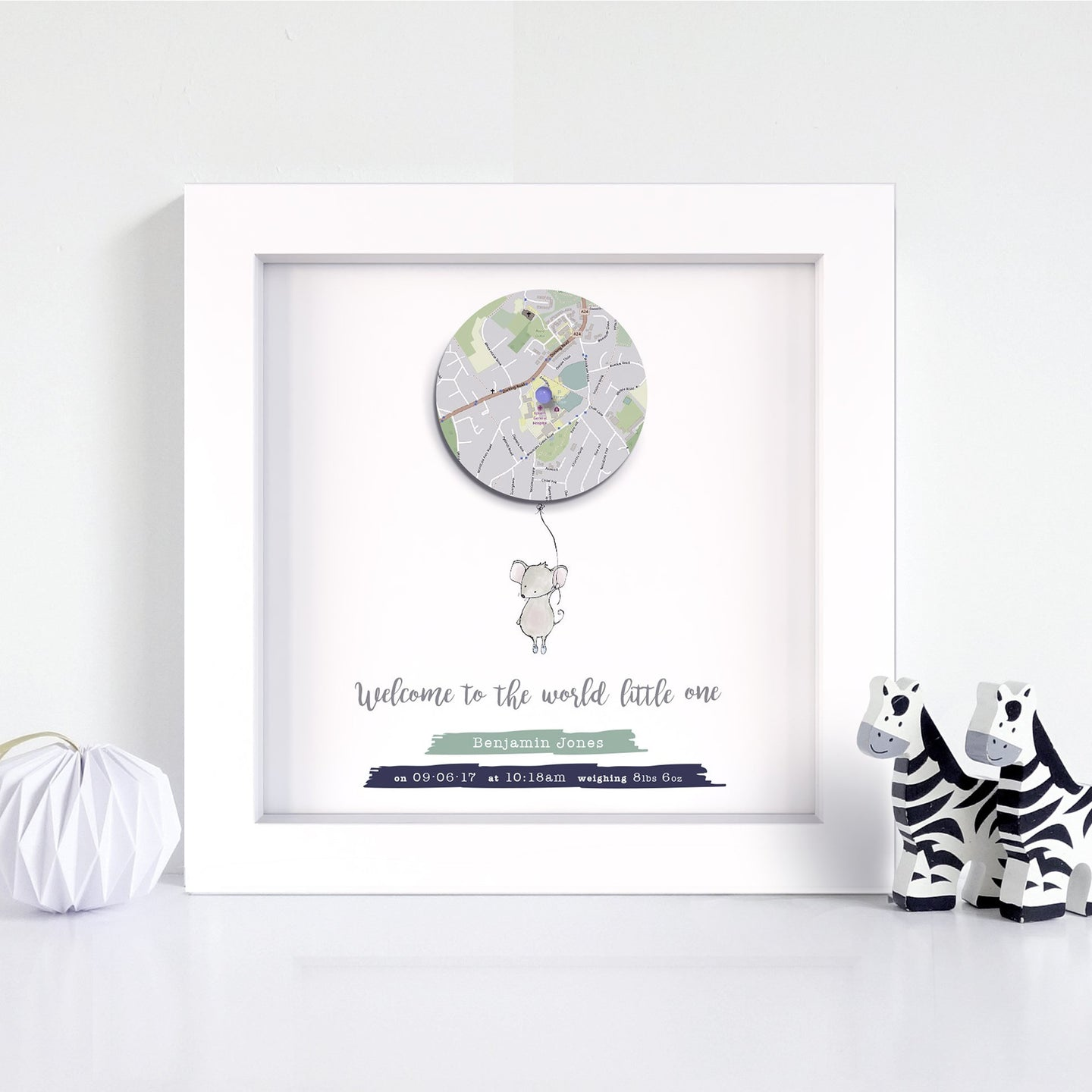 Baby Gift - Small Mouse with Balloon Map Print