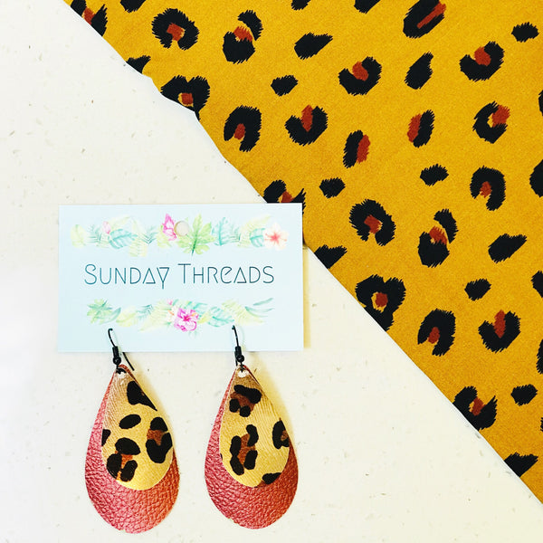 Vegan leather statement earrings - leopard two tone