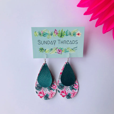 Vegan Leather Earrings- tropical/teal