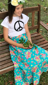 Kids organic printed tee- peace
