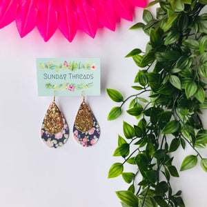 Vegan Leather Earrings-navy/gold teardrop