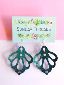 Vegan Leather Earrings- teal lotus