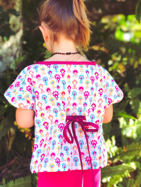 Kids Kaftan- Red posy