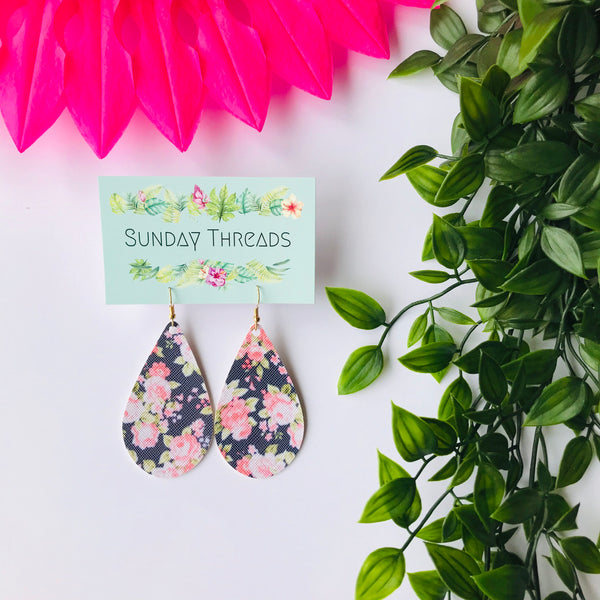 Vegan Leather Earrings- navy floral teardrops