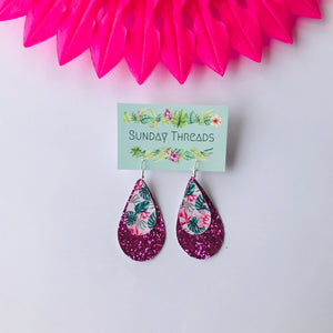 Vegan Leather Earrings-pink glitter/tropical