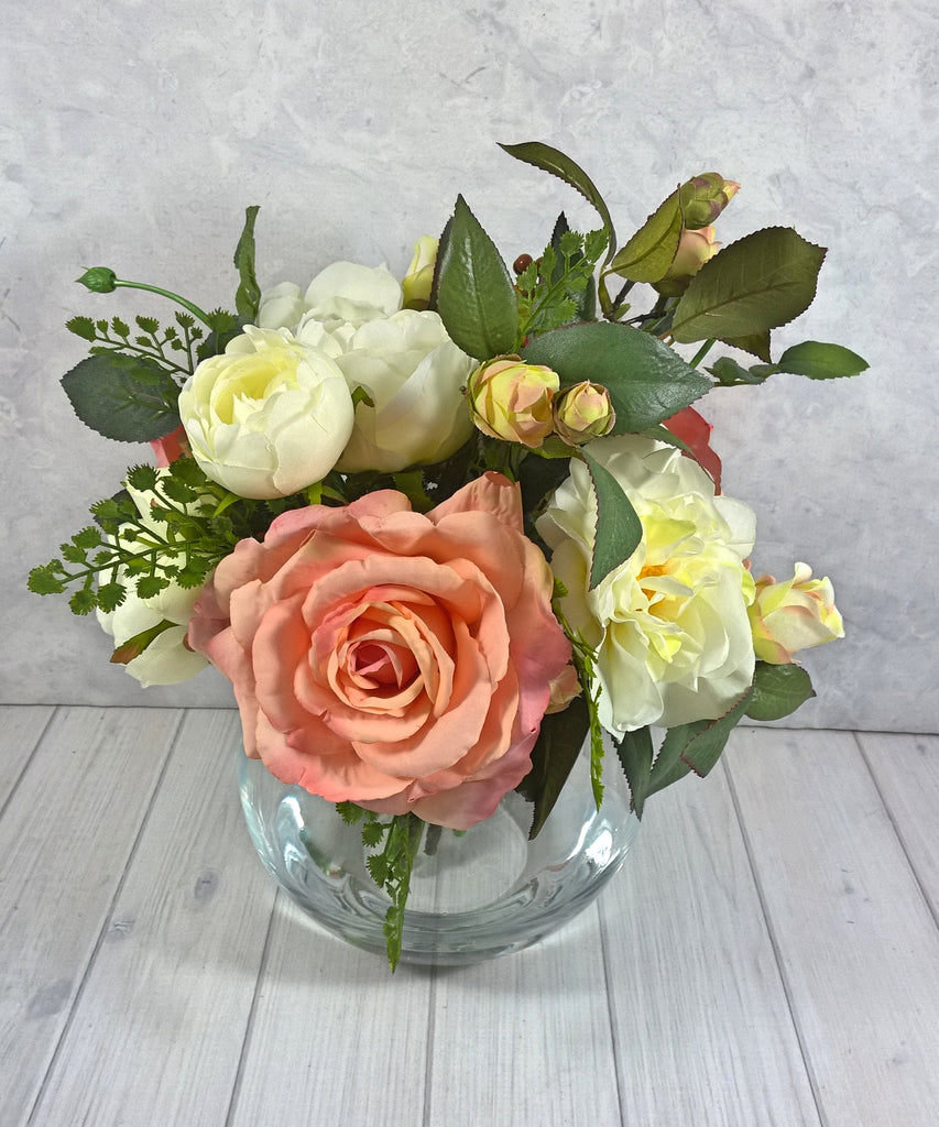 H109 Roses, Camellia Cabbage Roses Hand-tied Arrangement