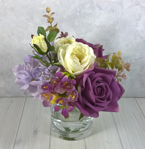 H120 Roses, Hydrangea, Freesia, Hand-tied Arrangement