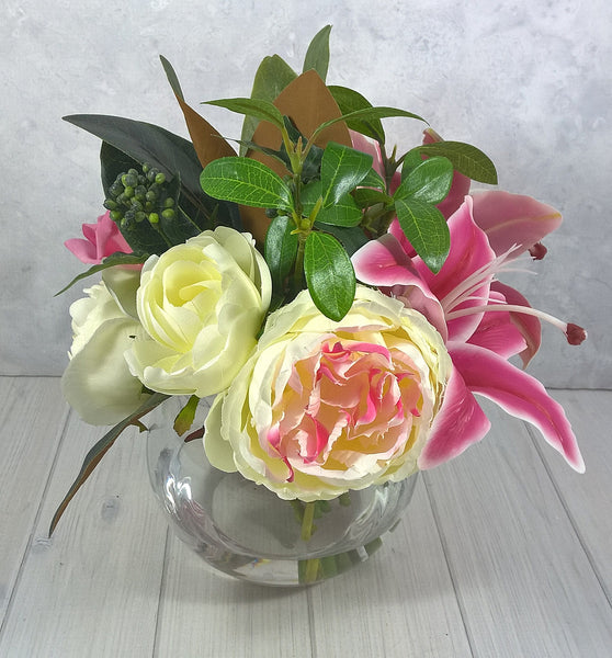 H121 Casablanca Lily, Roses, Peony, Hand-tied Arrangement