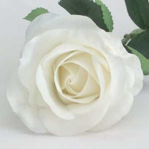 Rose - Real Touch - Half Bloom - White