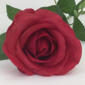 Rose - Real Touch - Half Bloom - Red