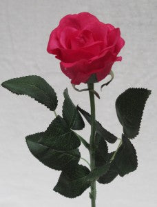 Rose - Real Touch - Half Bloom -Fuchsia