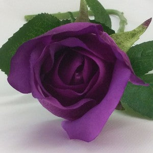Rose - Real Touch - Open Bud - Purple