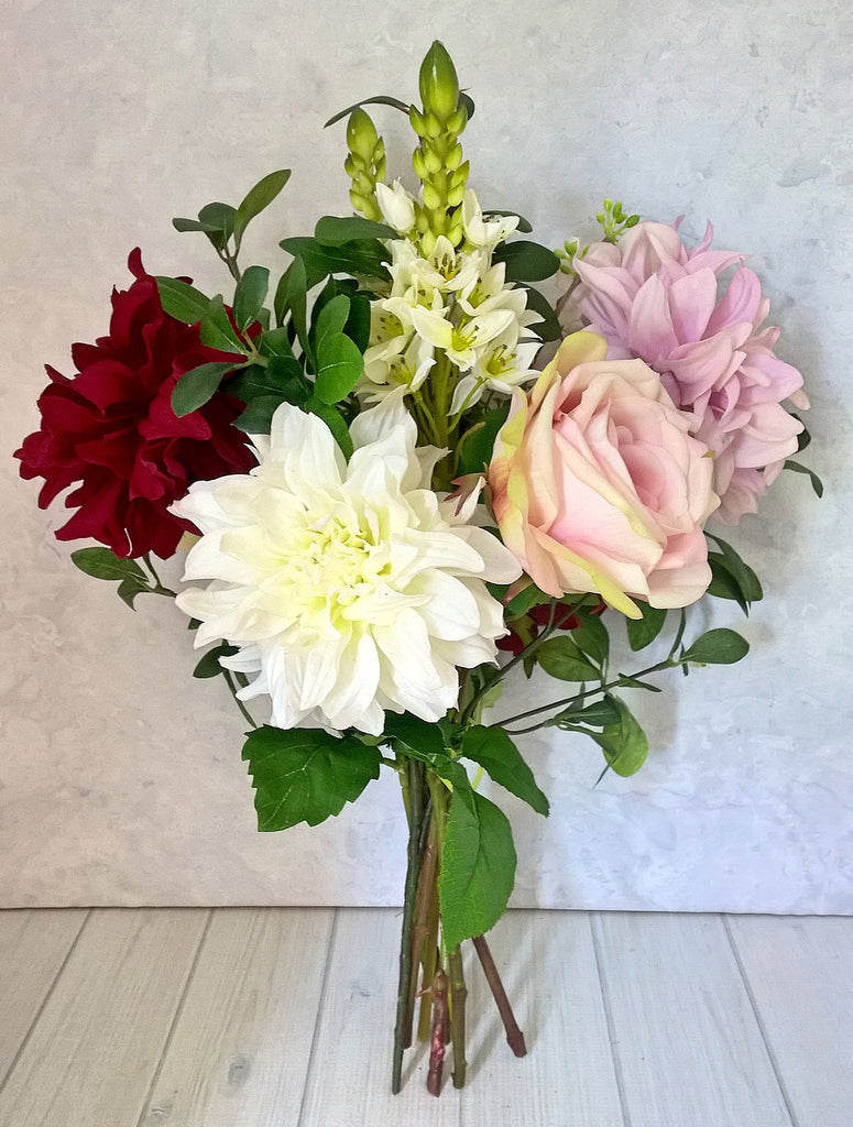 H137   Dahlia, Roses, Chincherinchee Hand-tied Arrangement