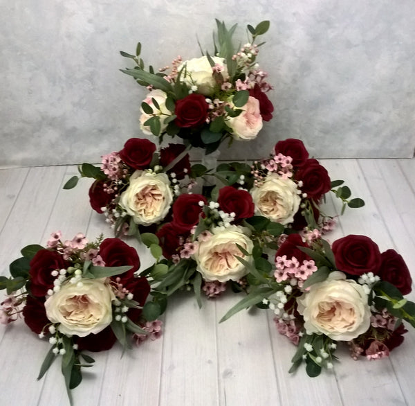 Rebecca Red and Pink Bridal Bouquet $160