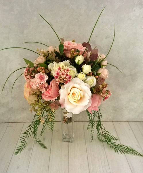 Ashleigh Pink and White Bridal Bouquet $165