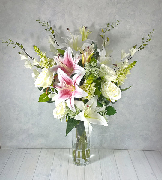 H113 Casablanca Lily Orchids Roses Hand-tied Arrangement