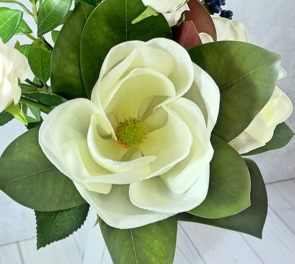 H117 Magnolia, Roses, Foliage and Berries Hand-tied Arrangement