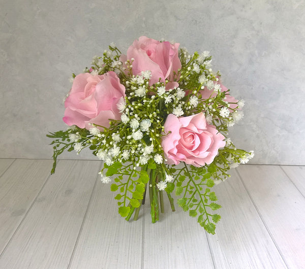 H144 Rose and Baby's Breath Hand-Tied Arrangement