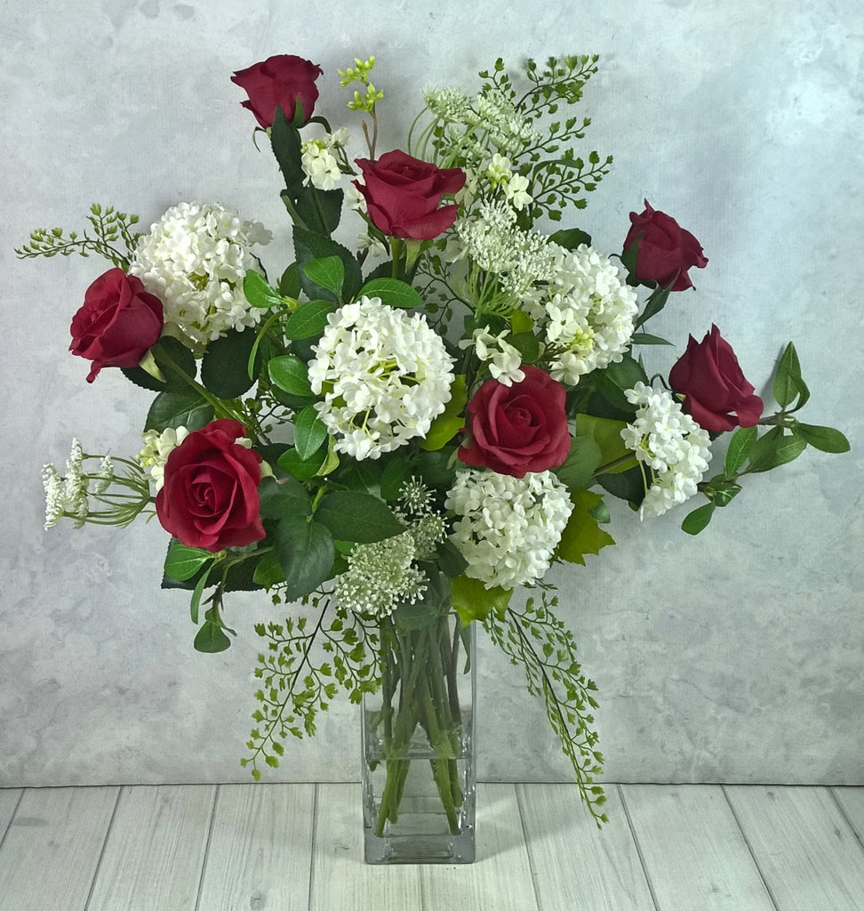V119 Roses, Snowballs, Queen Anne Lace