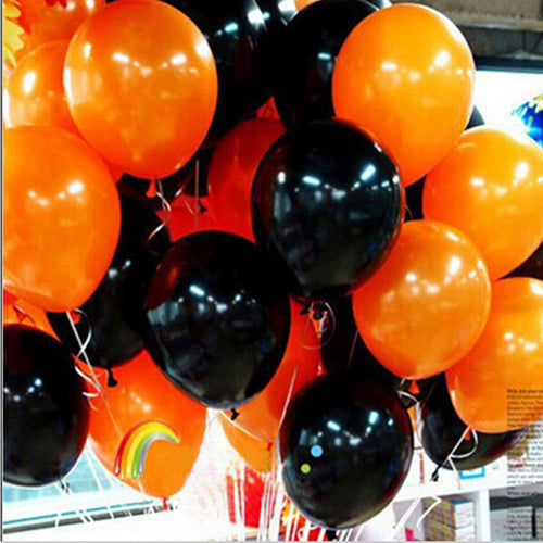 50pieces Halloween balloon combo 10 inches 2.3 grams of inferior smooth, thick decorative balloons orange and black baloons - UrbanBalloons.COM
