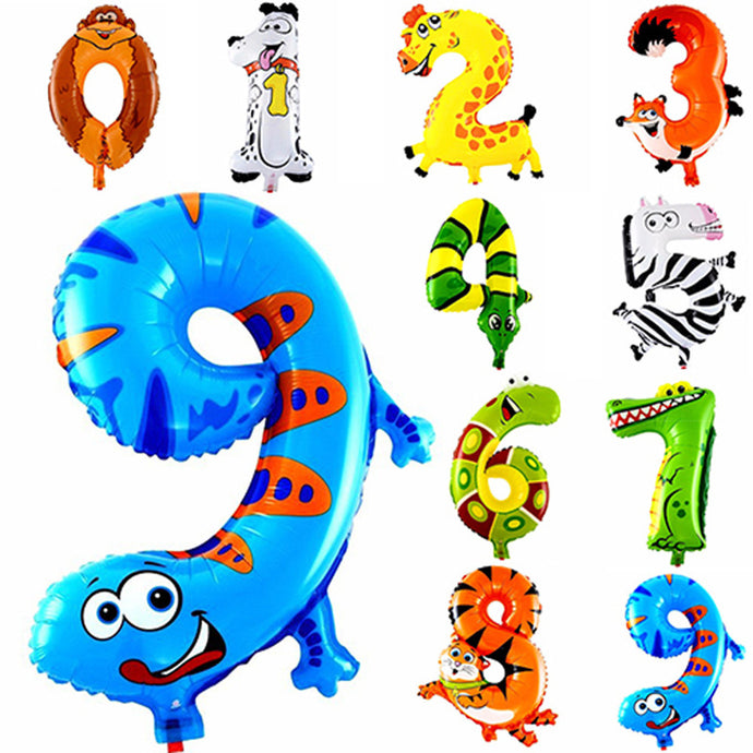 1Pcs Animal Number Foil Balloon Wedding Happy Birthday Party Decoration Balloons Kids Babys Children's Toys Gifts - UrbanBalloons.COM