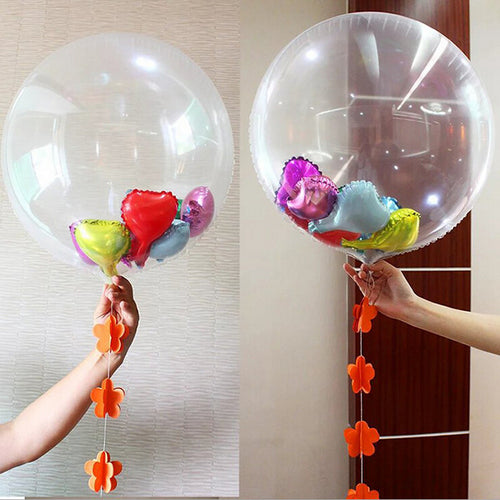 20 Pcs Large 24 Inch Transparent Foil Balloons Giant Clear Helium Air Globo DIY Confetti Balloon Wedding Birthday Party Decor - UrbanBalloons.COM
