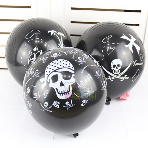 10pcs/lot 3.2g 12'' thicken Person cranial head Halloween Ball For Birthday Party Decor Pirate Printing Latex Balloons Helium - UrbanBalloons.COM