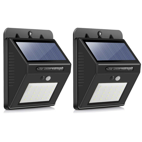 SQI. 25 Led Solar Powered LED Wall Light with Dim Mode + PIR +Night sensor Pack 2