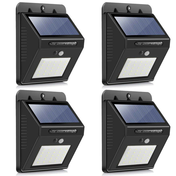 SQI. 25 Led Solar Powered LED Wall Light with Dim Mode + PIR +Night Sensor Pack 4